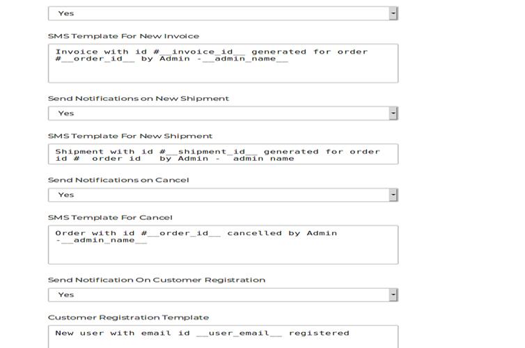 Admin Notifications Configuration