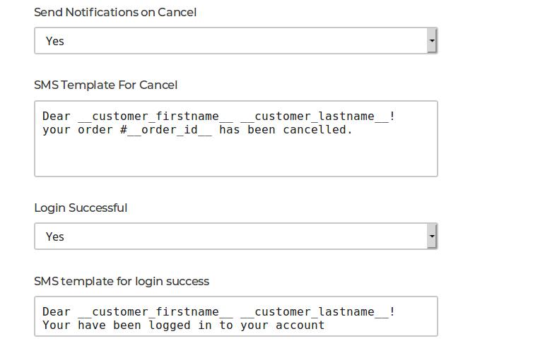 Admin Notifications Configuration- Customer